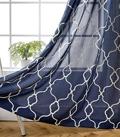 Sheer Curtain Panels, Sheer Drapes, Grommet Curtains, Window Curtains, Window Panels, Navy And White Curtains, Blue And White Fabric, Makeup Trends, Blue Kitchen Curtains