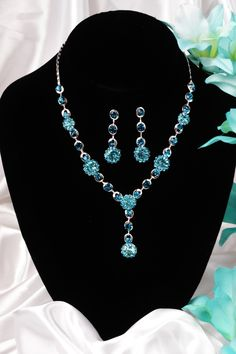 Quinceanera Mall - Turquoise Y Tear Drop Necklace and Earrings Set $25