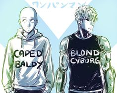 One Punch Man - Saitama (Caped Baldy) and Genos (Blond Cyborg)