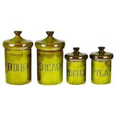 Vintage 1970's Ceramic Canister Set, Sugar, Flour, Coffee, Tea -... ($135) ❤ liked on Polyvore featuring home, kitchen & dining, bottles & jars & jugs, sugar canister set, ceramic canister set, colored jars, tea jar and ceramic jar