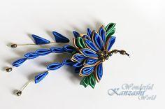Peacock+Kanzashi+Fabric+Flower+Hair+Pin+by+wonderfulkanzashi,+$38.00
