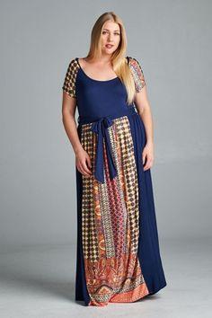 4e754c3de6c Kelly Brett Boutique - Plus Size Promenade Maxi Dress Navy