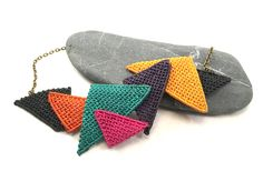 Macrame necklace with triangle colourful shapes and bronze chain Macrame Necklace, Sunglasses Case, Triangle, Bronze, Shapes, Chain, Color, Colour, Necklaces