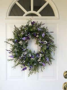 Spring Wreaths-Pansy Wreath-Rustic Wreath-Door by ReginasGarden