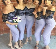 L189 OFF the Shoulder Three Quarters Sheath Tea Length Bridesmaid Dresses, Black Lace Top Bridesmaid Dress