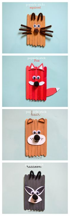 Popsicle stick forest animals for kids with magnet on the back.