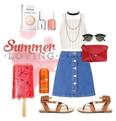 Summer Loving by estellenath on Polyvore featuring mode, Topshop, Miss Selfridge, Breckelle's, CÉLINE, Ray-Ban, Avène and Essie