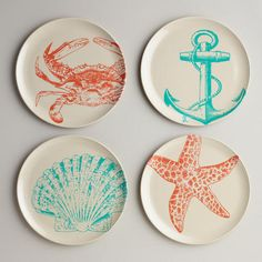 One of my favorite discoveries at WorldMarket.com: Seascape Plates, Set of 4