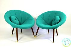 Newly Upholstered & Refurbished Pair of Mid Century Modern