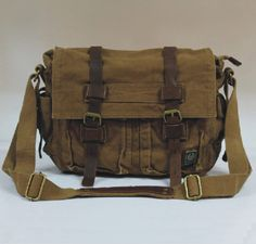 Casual CANVAS Leather Messenger/leather Shoulder Bag/ Men's and Women's LEATHER Satchel/Leather Briefcase/Leather Laptop Bag/Hip bags on Etsy, $89.99