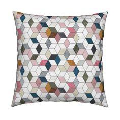 Catalan Throw Pillow featuring Hexo (pink) by nouveau_bohemian