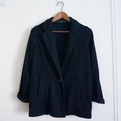 Zara Long Blazer Soft design. different from your typical blazer. great construction and super chic and comfortable. Navy color. Zara Jackets & Coats Blazers