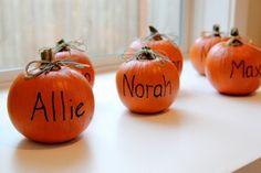 Mini Pumpkins w/Names as favors