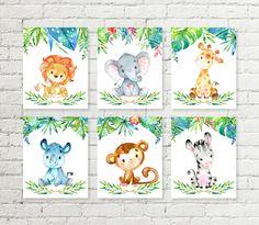 Jungle Safari Nursery Print Giraffe Elephant Lion Rhino