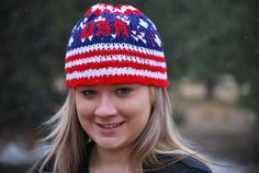 Patriotic Knit USA Beanie for men women teens by fibremom on Etsy, $18.00