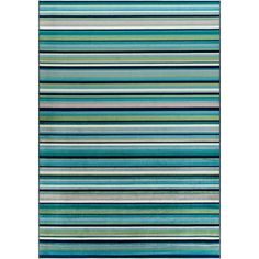 Shop Godric Teal Striped Area Rug - x - Overstock - 22403132 Teal Area Rug, Area Rugs, Cool Tones, Online Home Decor Stores, Rug Store, Cool Rugs, Rugs Online, Outdoor Blanket, Contemporary