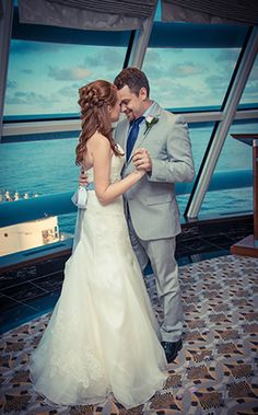 This Disney Cruise Line intimate wedding ceremony offered beautiful ocean views with contemporary decor