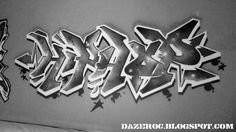 HIP-HOP: Traditionally related with hip-hop culture, this is an example of graffiti writing. This is a possible theme for the hip-hop sections of the website/magazine, e.g as a background, or decorative writing.