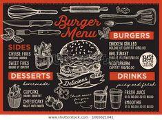 Burger restaurant menu. Vector food flyer for bar and cafe. Design template with vintage hand-drawn illustrations. Food Menu Design, Food Truck Design, Cafe Design, Burger Menu, Burger Restaurant, Restaurant Design, Desserts Menu, Dessert Drinks, Vector Food