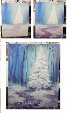 Drawings Easy Snowy Pine - Easy Colors - White, Blue, Yellow, red Brushes - Medium and large square Acrylic Painting Tutorials, Diy Painting, Painting & Drawing, Acrylic Painting For Beginners Step By Step, Easy Acrylic Paintings, Christmas Paintings, Christmas Art, Learn To Paint, Pictures To Paint