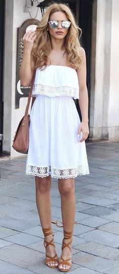 #summer #boho #chic #style | White Off The Shoulder Dress