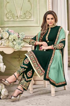 Dark Green Georgette Salwar Kameez Price - £63.00 Occasion Party Wear, Wedding Wear, Festival Wear, Ceremonial Color Green Fabric Chiffon, Georgette, Santton Discount No Work Embroidered, silk thread, Stone Time To Ship: 10 to 12 working days #salwarkameez #fashion #design #collection #trendy #gorgeous #online #shopping #pretty #wedding #designer #dresses #fashionable #ethnic #london #londonfashion #fabric #fabulous #ootd #outfit #shopkund