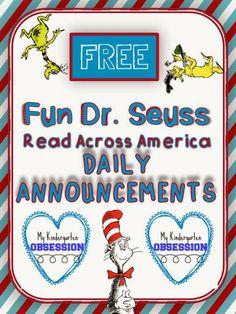 Dr. Seuss Daily Rhyming Annoucements FREEBIE for Read ACROSS AMERICA week! SO fun! Fun! Fun!