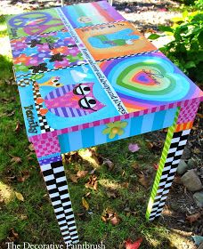 Decorative Paintbrush, Designs by Mary Mollica: Hippie Love: Peace, Love & Dreaming Whimsical Painted Furniture, Hand Painted Chairs, Hand Painted Furniture, Funky Furniture, Recycled Furniture, Art Furniture, Colorful Furniture, Furniture Makeover, Painted Tables