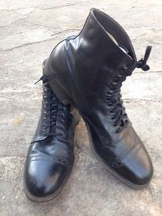 VINTAGE-CHARLES-CHESTER-1930s-Black-Boots-SHOES-Sz-10