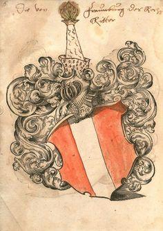 «Wappenbuch» (fränkischer Provenienz?), [S.l.] Süddeutschland  2. Hälfte 16. Jh. [BSB Cod.icon. 311 b - urn:nbn:de:bvb:12-bsb00056182-7] -- Bildnr.6: Wappen adeliger Familien aus SüddeutschlandBeginnend mit Reichserbritter von Frauenberg