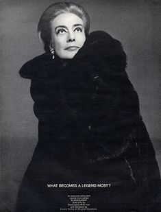 """Joan Crawford - Blackglama Mink """"What Becomes A Legend Most?"""" Ad Campaign (1969)."""