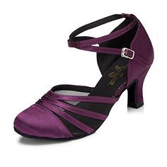 CRC Womens Round Toe Breathable mesh at vamp Purple Satin Ballroom Morden Party Wedding Professional Dance Shoes 105 M US ** You can find out more details at the link of the image.-It is an affiliate link to Amazon. #WeddingShoes