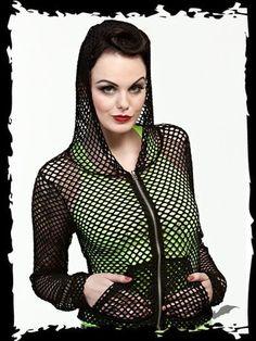 Queen of Darkness Jacke Gothic Industrial EBM Schwarz Netz