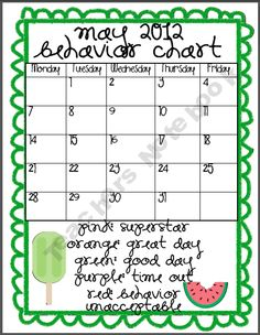 May Classroom Student Behavior Chart