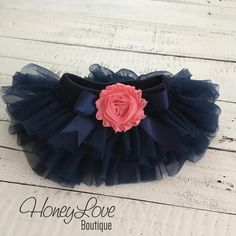 Navy Blue tutu skirt bloomers diaper cover, embellished Coral Pink shabby flower, ruffles all around newborn infant toddler little baby girl by HoneyLove Boutique