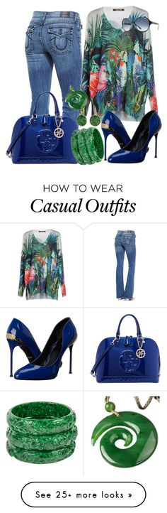 """casual"" by alice-fortuna on Polyvore featuring True Religion, Roberto Cavalli, GUESS, Bling Jewelry, women's clothing, women's fashion, women, female, woman and misses"