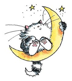 """Penny Black Rubber Stamp 2.5""""X3-Cat On The Moon"""