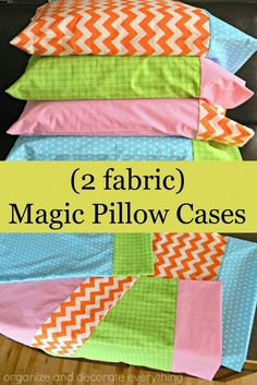 Magic Pillowcase Tutorial : 2 fabric magic pillow cases are easy to make and co. Magic Pillowcase Tutorial : 2 fabric magic pillow cases are easy to make and coordinate with any decor Easy Sewing Projects, Sewing Projects For Beginners, Sewing Hacks, Sewing Tutorials, Sewing Crafts, Sewing Patterns, Sewing Tips, Diy Projects, Sewing Ideas