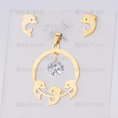 juego colgante y aretes de delfin lindo en acero dorado inoxidable para mujer -SSSTG954492