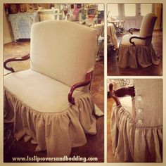 Settee slipcover by LS Slipcovers & Bedding In Houston, TX. Ruffle skirt with exposed top, knife-pleated edging and mother of pearl button closure. Natural flax tissue linen.