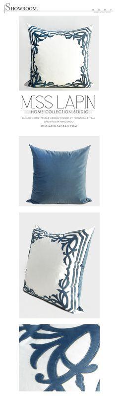 法式浪漫/样板房设计师家居软装靠包抱枕/天蓝色欧式边框绣花方枕-淘宝网