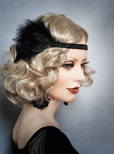 Art Deco Headpiece Flapper beaded Headband Feathers Fascinator 1920s Great Gatsby 20's Roaring Twenties Vintage Headdress Black by YourPrincessMimi on Etsy https://www.etsy.com/listing/261559716/art-deco-headpiece-flapper-beaded
