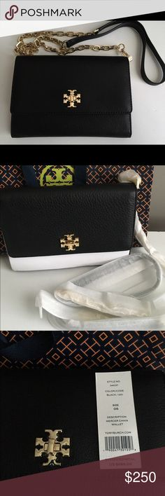 Tory Burch Mercer Crossbody Wallet Crafted with genuine pebbles leather and finished with polished golden tone hardware. The leather and coordinating custom logo print fabric interior offers 16 card slips, two bill slips, and a zippered compartment. The flap top secures with a magnetic closure and is accented with Tory's iconic double T stacked logo. The back offers a lined open slip pocket. The removable chain and leather strap enables you to carry this as a wallet clutch, or wear as a…
