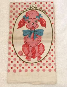 Vintage Kitschy Pink Poodle w/ Aqua Turquoise Blue 1950s Towel by crazy4me on Etsy