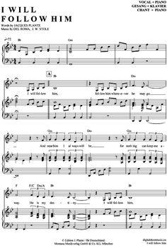 I will follow him (Klavier + Gesang) Sister Act [PDF Noten] >>> KLICK auf die Noten um Reinzuhören <<< Noten und Playback zum Download für verschiedene Instrumente bei notendownload Blockflöte, Querflöte, Gesang, Keyboard, Klavier, Klarinette, Saxophon, Trompete, Posaune, Violine, Violoncello, E-Bass, und andere ...