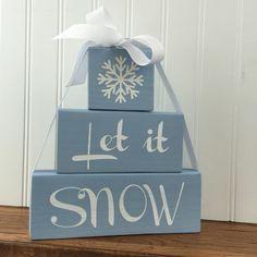 Let It Snow Stacked Blocks Winter Decor Snow by HeartfeltByDonna