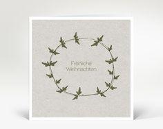 Weihnachtskarte Tannenzweig Karton grün | Designer-Weihnachtskarte DK2400