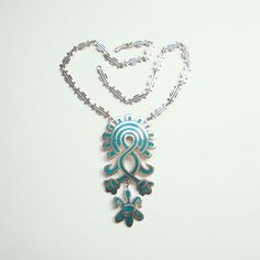 Vintage Taxco Mexico Mexican CDL Sterling Silver Turquoise Aztec Mayan Inspired Pendant Necklace Boho Bohemian by redroselady on Etsy