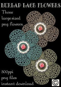 Burlap Lace Flowers Graphics Instant by CheriesArtsnCrafts on Etsy, $3.95