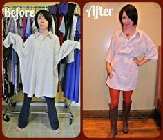 All this 2XL mens' shirt needs is some tailoring and a bit of elastic to turn it into a cute dress!